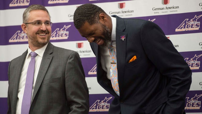 Evansville athletic director Mark Spencer (left) has partnered with Nike, Gatorade and now Learfield since 2014.