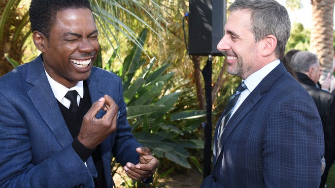 Honoree Chris Rock and honoree Steve Carell share a laugh at the Variety Creative Impact Awards brunch at the Parker Palm Springs.