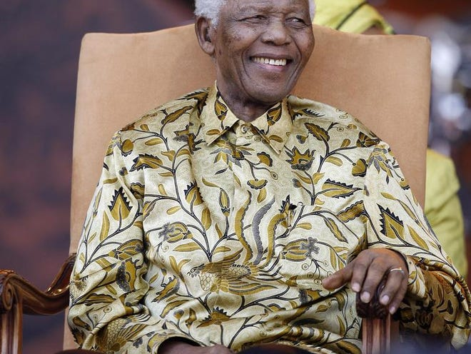 Nelson Mandela is shown in 2008.