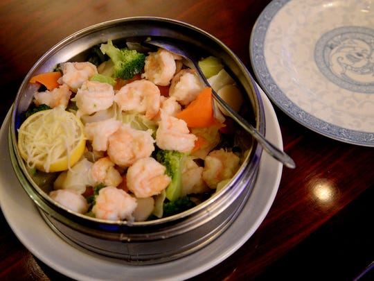 Steamed shrimp and vegatables at Imperial Cathay.