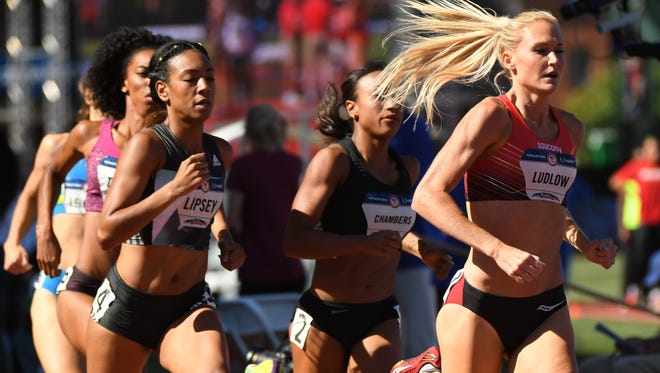 Jul 1, 2016; Eugene, OR, USA; Charlene Lipsey (left) and Molly Ludlow (right) compete during the women's 800m qualifying heats in the 2016 U.S. Olympic track and field team trials at Hayward Field.