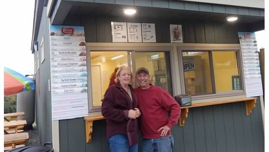 Sue and Steve Wilcox have opened Scooby Steve's ice cream stand across from their home in Danby.