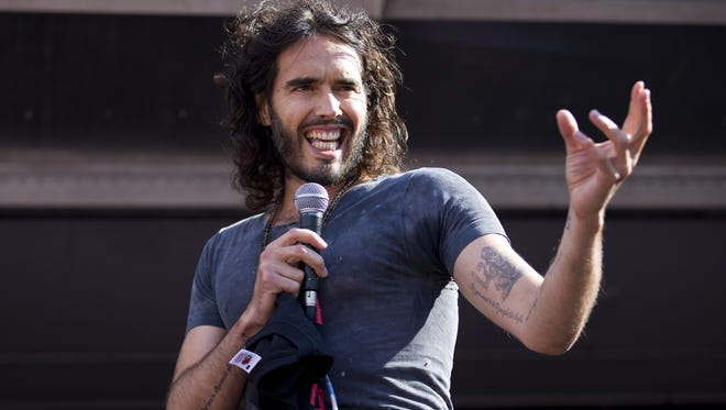 Russell Brand in June 2014 at an anti-austerity rally in London. Now he's become an anti-porn crusader.
