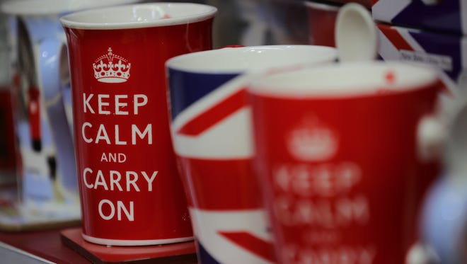 Tourist mugs are seen for sale in a shop in Whitehall on March 14, 2017 in London.