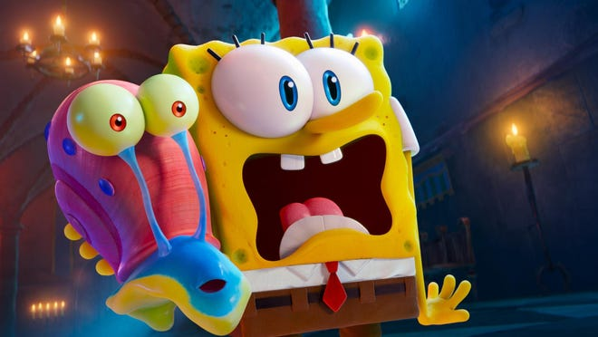 """Gary, left, and SpongeBob (voiced by Tom Kenny) in a scene from the Paramount+ film """"The SpongeBob Movie: Sponge on the Run."""""""