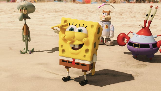 "Squidward Tentacles (from left), SpongeBob SquarePants, Sandy Cheeks and Mr. Krabs are seen in a scene from ""The Spongebob Movie: Sponge Out of Water."""