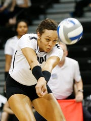 Purdue's Azariah Stahl with a dig against Maryland Wednesday, November 2, 2016, at Holloway Gymnasium. Purdue defeated Maryland 25-23, 25-15, 16-25, 28-26.