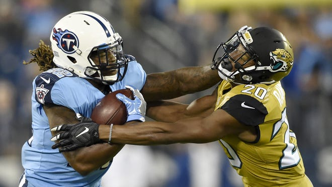 Titans running back Derrick Henry (22) rushed for 490 yards and five touchdowns on 110 carries last season.