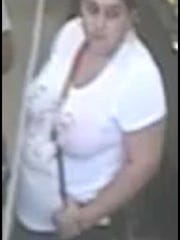 This surveillance image shows the female suspect in a jewelry theft at Miromar Outlets in Estero on Oct. 12.