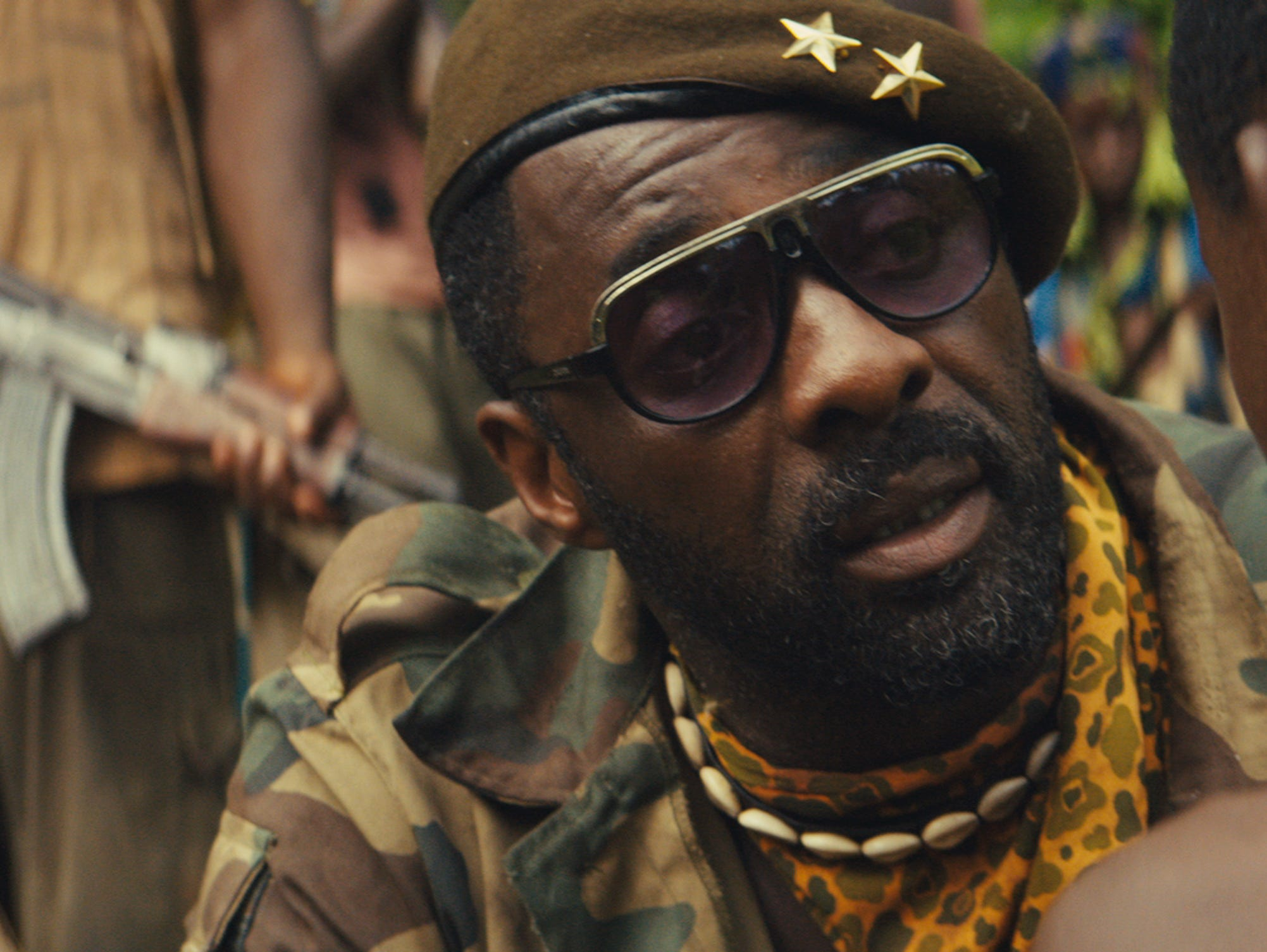 Idris Elba in a scene from the upcoming original Netflix film 'Beasts of No Nation.'