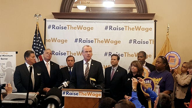 Gov.-elect Phil Murphy speaks at a State House press conference in Trenton last Monday about an increase in the minimum wage.