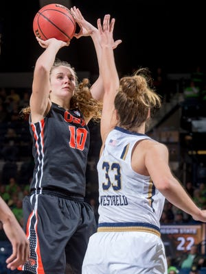 Dec 28, 2015; South Bend, IN, USA; Oregon State guard Katie McWilliams (10) shoots a jumper in last season's game against at Notre Dame.