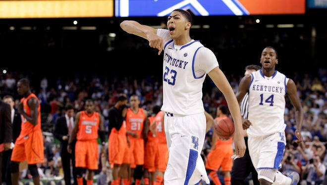 Kentucky forward Anthony Davis (23) reacts after defeating Louisville 69-61 in an NCAA Final Four semifinal college basketball tournament game Saturday, March 31, 2012, in New Orleans.
