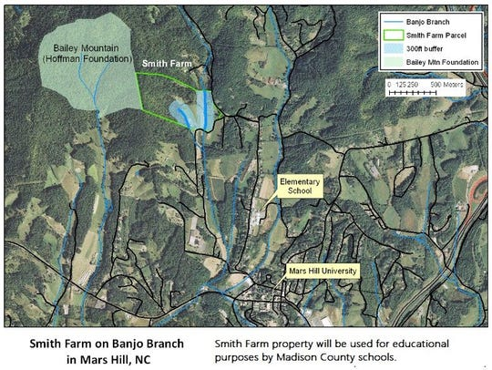 This map shows the Smith Farm property, now part of Bailey Mountain.