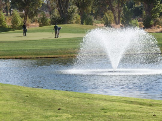 The par 3 second hole at Hawk's Landing Golf Course in Yucca Valley.