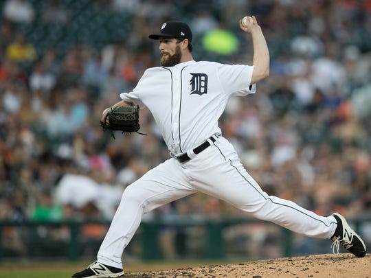 Tigers' Chad Bell pitches against the Orioles during the third inning Tuesday, May 16, 2017 at Comerica Park.