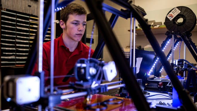 Stephen Green watches the 3D printer in class at C-TEC. In an effort to fill the skills gap that exists in Licking County, C-TEC offers hands on technical classes to adults and high school students. The idea is to give students the skills they will need to fill job positions that are available now.