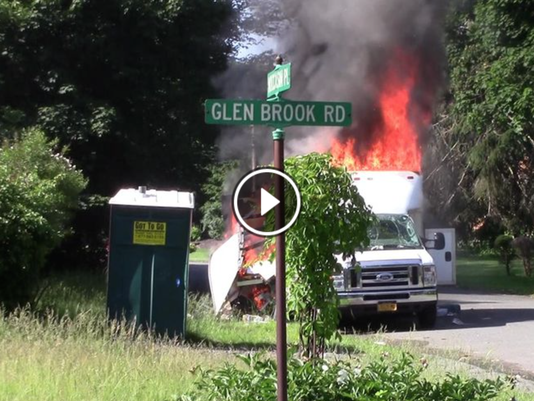 Screenshot of van explosion, fire in Wesley Hills
