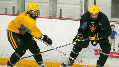 Joe Lappin, right, scored two goals for ASU hockey Friday in a 3-2 win at Lake Superior State.