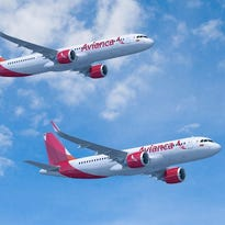 This image provided by Airbus shows planes from the jetmaker's A320neo family painted in the colors of Avianca.