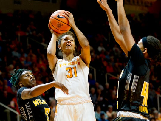 Tennessee's Jaime Nared (31) goes for a shot past Wichita