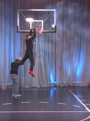 "Aaron Gordon dunked over a terrified ""Ellen Show"" producer on Thursday."
