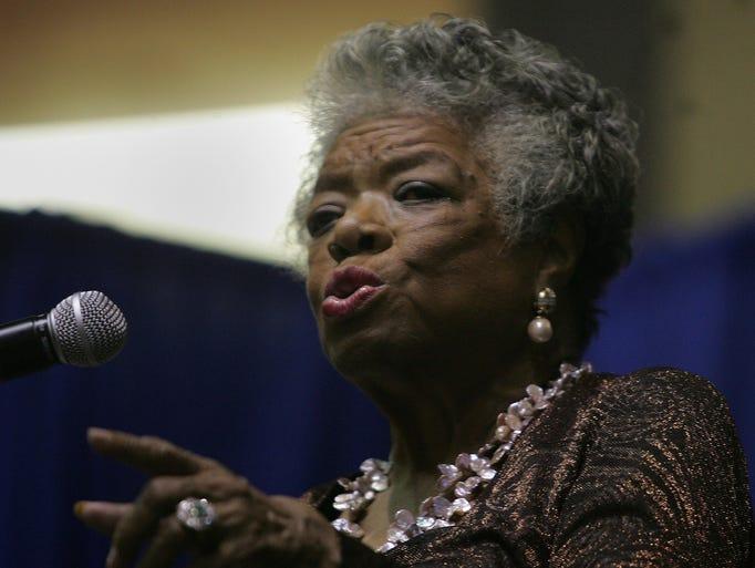 Maya Angelou speaking at Brookdale Community College in Middletown in 2009.