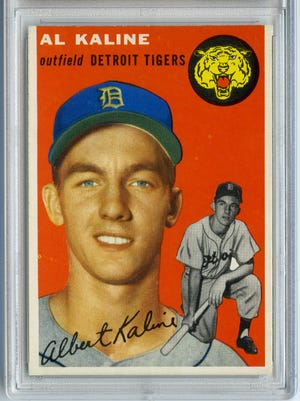 """A 1954 Topps Al Kaline is part of the """"Play Ball! Baseball at the DIA"""" exhibit."""