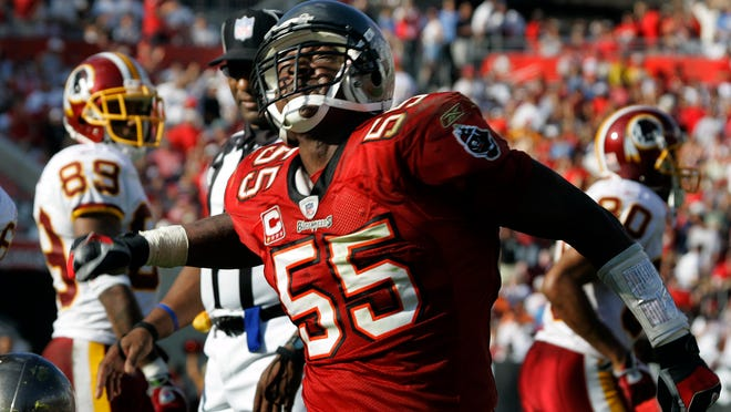 Tampa Bay Buccaneers linebacker Derrick Brooks reacts after making a play against the Washington Redskins on Nov. 25, 2007. Brooks, a Pensacola native, was selected by Tampa Bay in the first round of the 1995 NFL Draft.