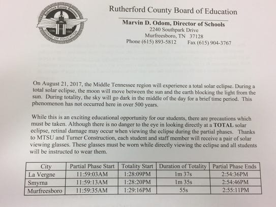 Rutherford County Schools provided this letter for