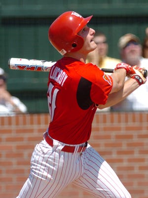 Jonathan Lucroy, shown here getting a hit against Arkansas State in 2007, is now an elite Major League catcher and a new member of the UL Athletic Hall of Fame.