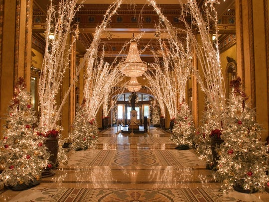 The inside lobby of The Roosevelt during Christmas.
