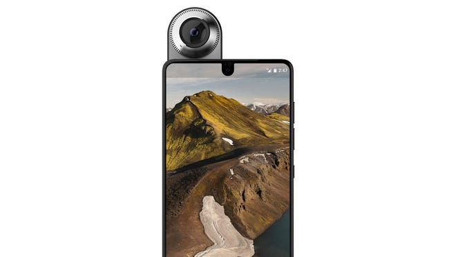 The Essential phone with its 360-degree accessory camera.