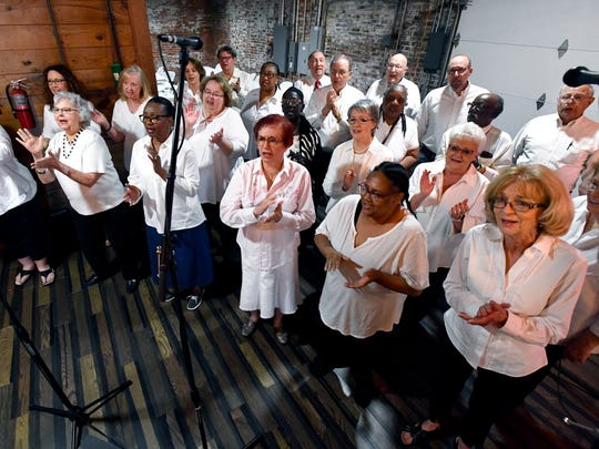 The choir sings during the Gospel Brunch on Saturday at 201 Mesquite Event Center. The show was part of the Key City Rhythm & Blues Festival.