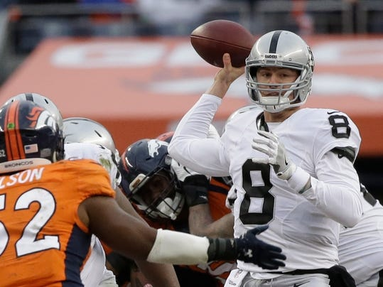 In this Sunday, Jan. 1, 2017, photo, Oakland Raiders quarterback Connor Cook passes against the Denver Broncos in the first half of an NFL football game in Denver. While the Oakland Raiders are giving no official word who will start at quarterback for their first playoff game in 14 years, the players are ready to go into the postseason behind rookie Cook. (AP Photo/Jack Dempsey)