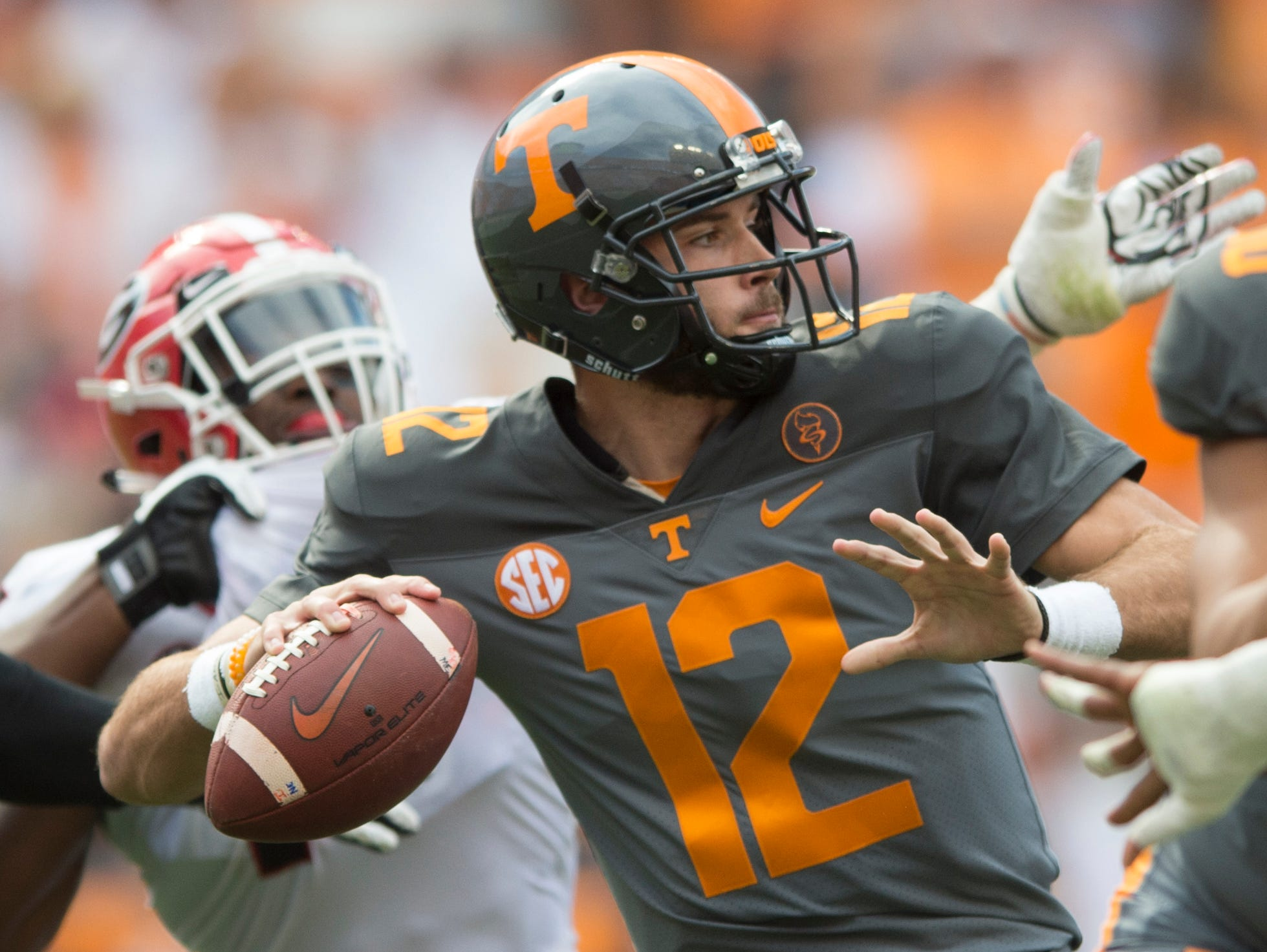 Tennessee quarterback Quinten Dormady (12) lines up a pass during the Tennessee Volunteers vs. Georgia Bulldogs game at Neyland Stadium in Knoxville, Tennessee on Saturday, September 30, 2017.