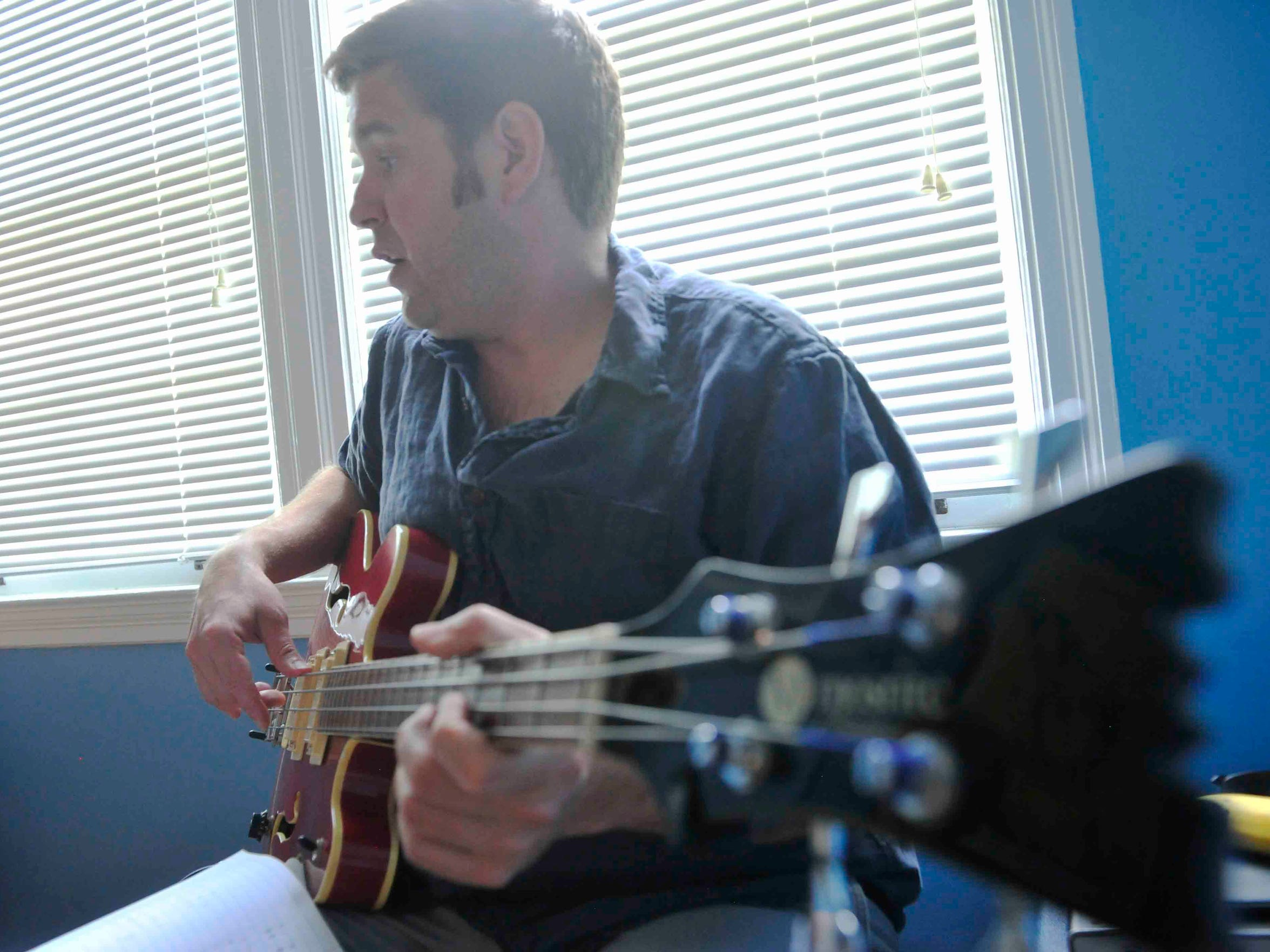 Chris Autry in the writing room in Berry Hill with the New Dylans as they practice on July 28, 2014.