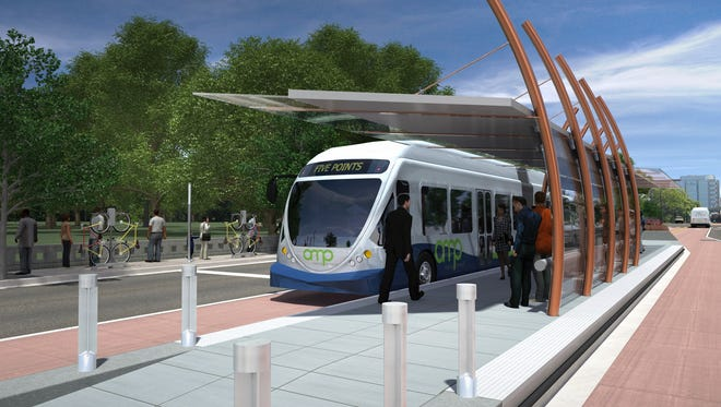 This rendering shows an Amp station stop at Centennial Park along West End Avenue.