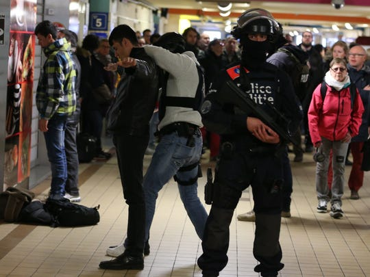 Police forces make searches inside the North station