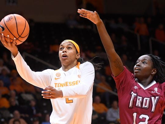 Tennessee guard Evina Westbrook (2) takes a shot while