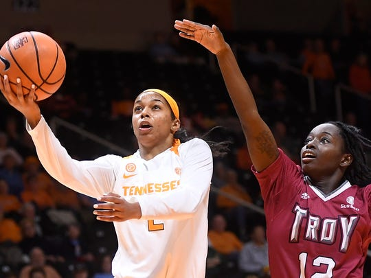 Tennessee guard Evina Westbrook (2) takes a shot while defended by Troy guard Harriet Winchester during a game against the Troy Trojans at Thompson-Boling Arena in Knoxville, Tenn. Wednesday, Dec. 6, 2017.