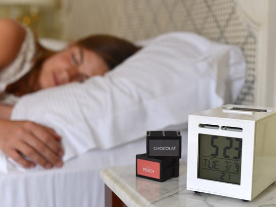 The SensorWake alarm clock uses different smells to