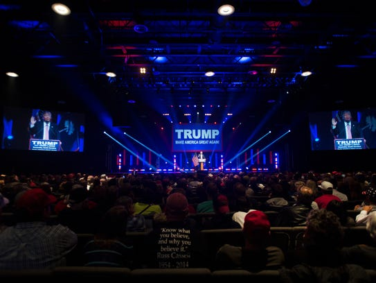 Donald Trump speaks at a rally at the TD Convention