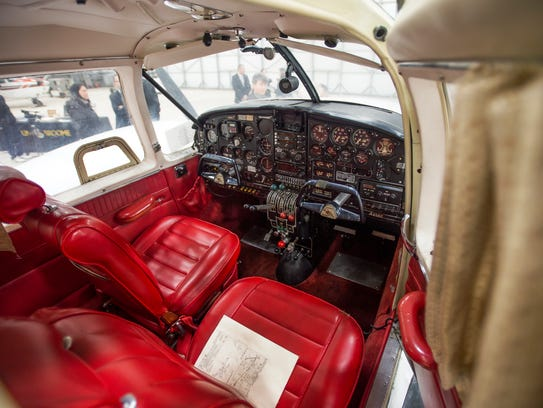 The cockpit of the 1966 Piper Aztec donated to SUNY
