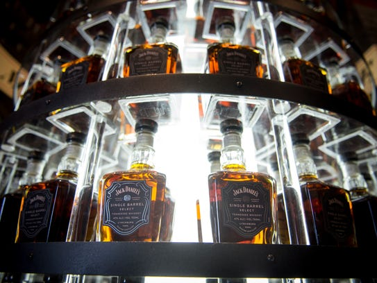 Bottles of Jack Daniel's Single Barrel Select sit on