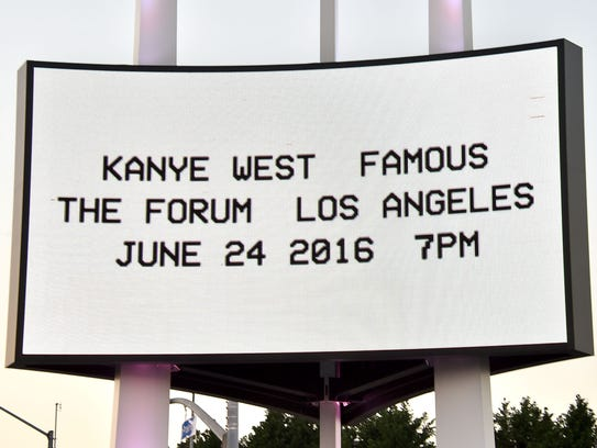 INGLEWOOD, CA - JUNE 24:  The marquee for Kanye's