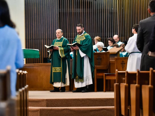 Father Joel Faulk at St Pius Church. October 9, 2016