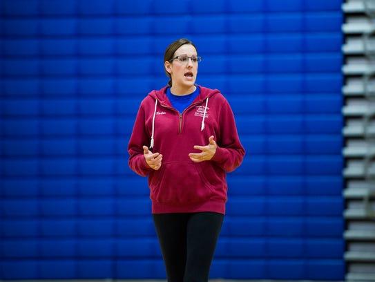 Owego volleyball coach Brittney Race addresses her
