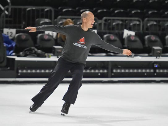 Olympic skater Kurt Browning on the set of Cirque Du