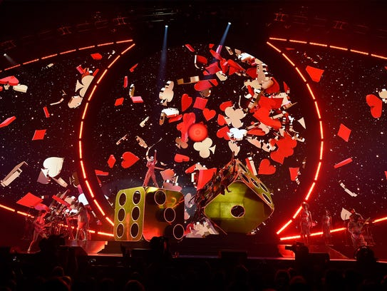 Katy Perry performs in front of a giant, eye-shaped